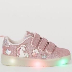 NWT H&M Unicorn Glittery LED lights Sneakers 9.5